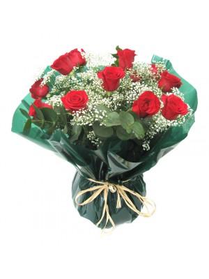 12 rosas en Jarrón  de cristal
