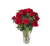 18 rosas tallo largo en Jarrón  de cristal