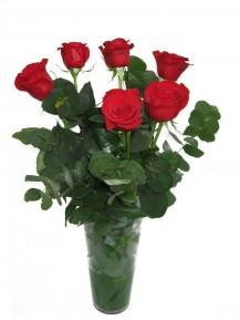 6 rosas en Jarrón  de cristal