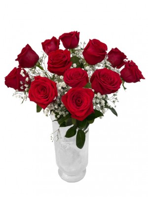 Ramo de 12 rosas de tallo largo (incluido jarrón de regalo)