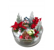 Cesta de   flores de pascua en cristal