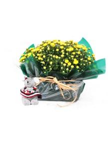 01 Crisantemo blanco en arpillera
