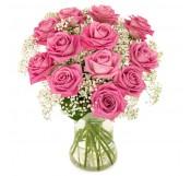 rosas  rosa en Jarrón  de cristal