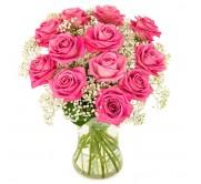12 rosas  rosa en Jarrón  de cristal