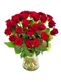 24 rosas en Jarrón  de cristal