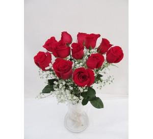 12 rosas 40cm  en Jarrón  de cristal