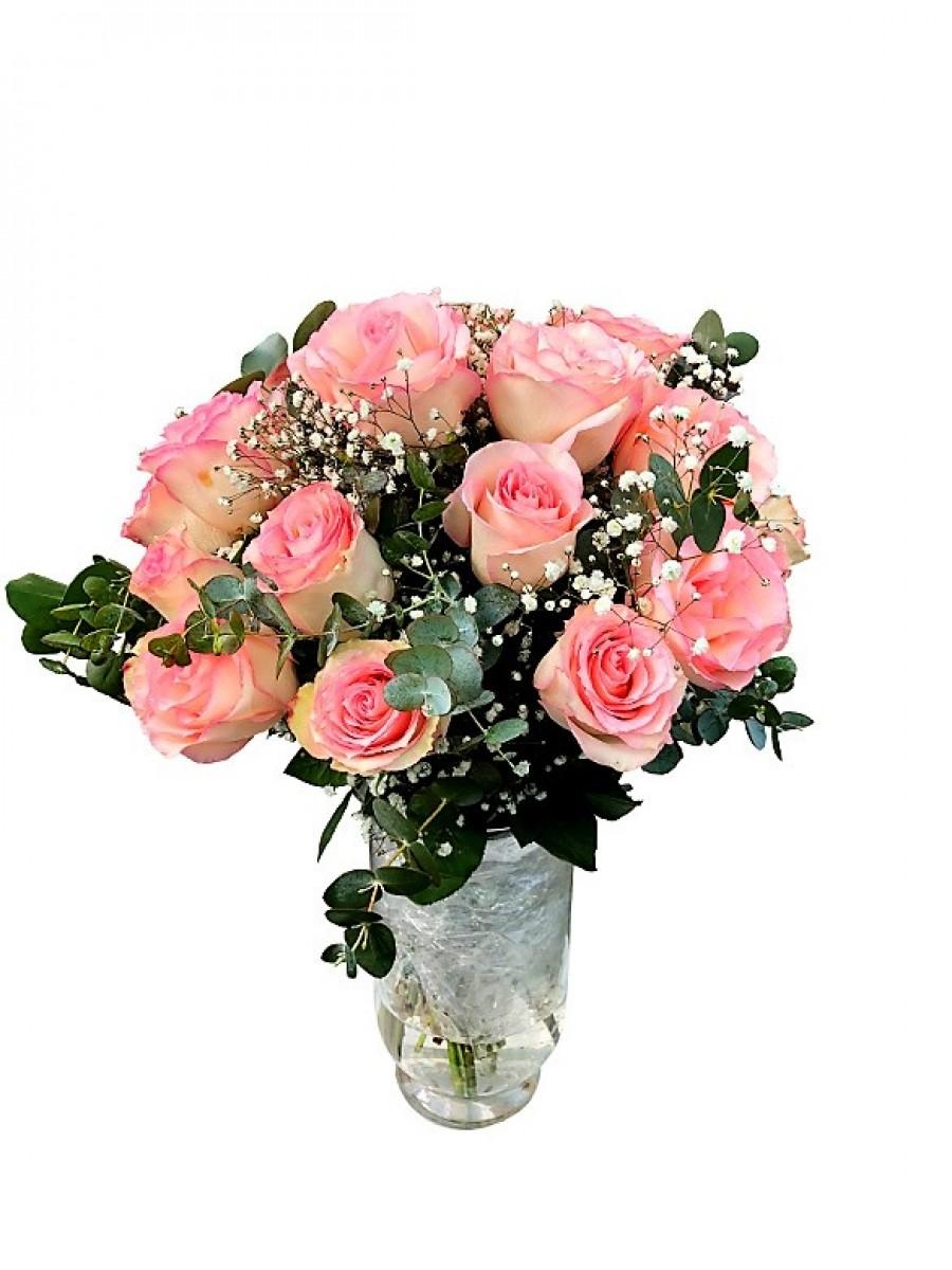 Ramo de 24 rosas rosa con relleno