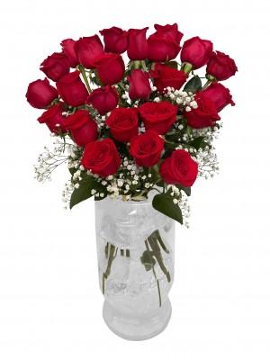 Ramo de 24 rosas de tallo largo con jarrón de regalo (incluido jarrón de regalo)
