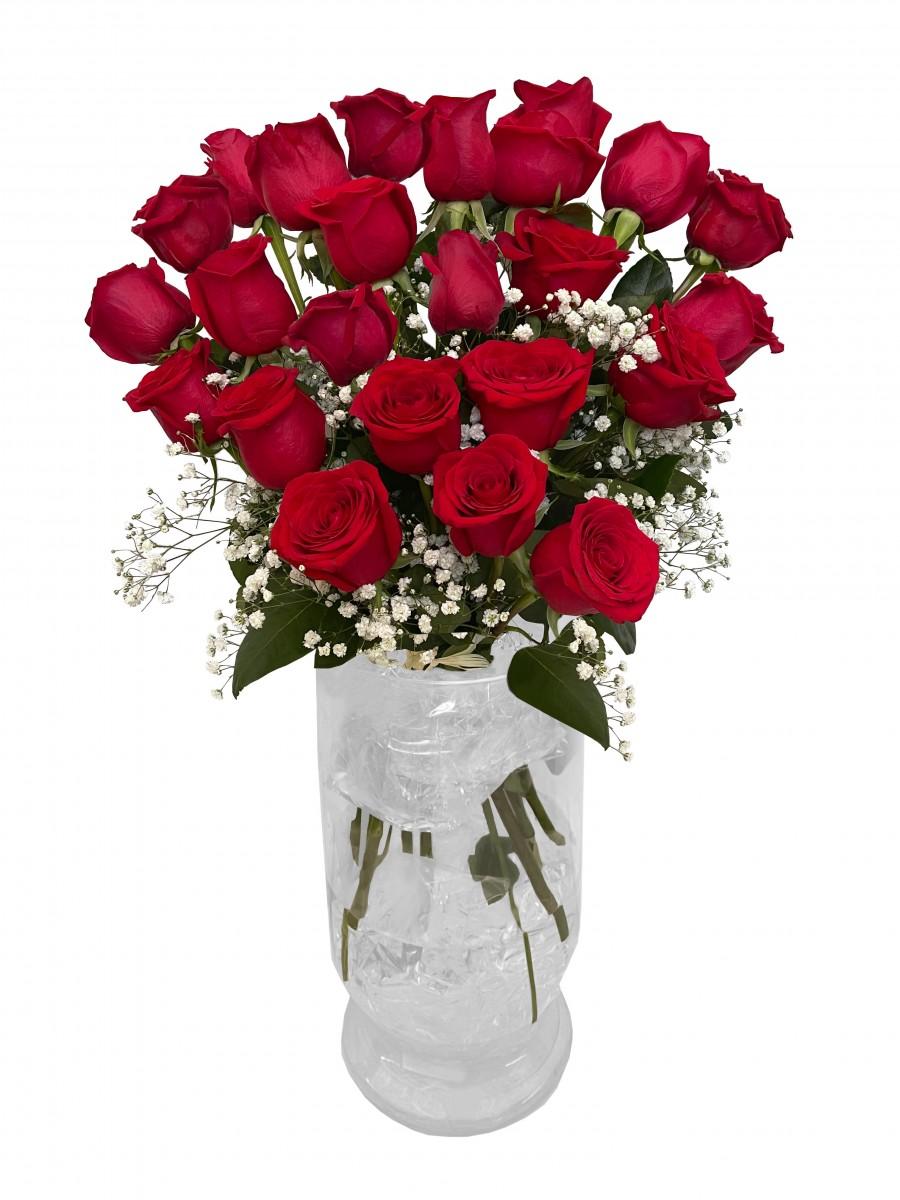 Ramo de 24 rosas de tallo largo con jarrón de regalo