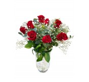 jarron  de 12 rosas