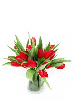 Tulipanes rojos en jarrón de cristal