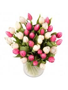 Jarron de 40 tulipanes rosas y blancas